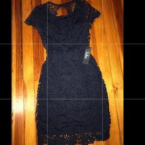 Backless Navy Blue Lace Dress